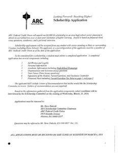 thumbnail of ARC Federal Credit Union Scholarship