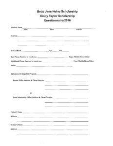 thumbnail of Betty Jane Heine and Cindy Taylor Scholarship Application