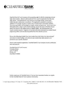 thumbnail of Clearfield Bank & Trust Company Scholarship