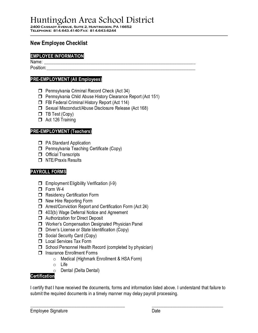 New Hire Packet Huntingdon Area School District