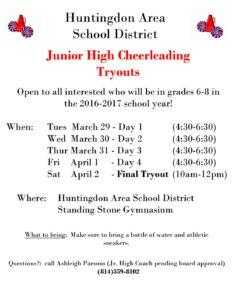 TRYOUT POSTER – Huntingdon Area School District