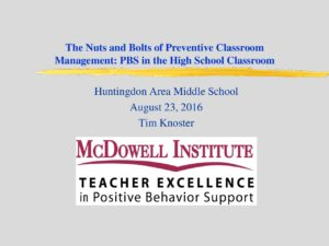 thumbnail of Effective Classroom Management – Dr. Knoster 8.23.16