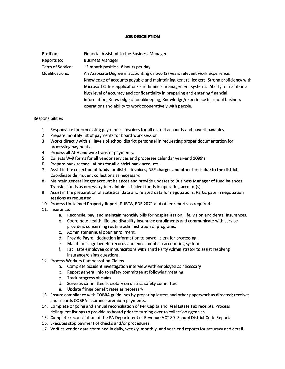 Financial Assistant Job Description Huntingdon Area School District