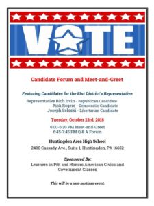 Candidate forum meet and greet huntingdon area school district the hahs honors and ap government and civics classes are hosting a non partisan candidate forum meet and greet on tuesday october 23rd beginning at 6pm m4hsunfo