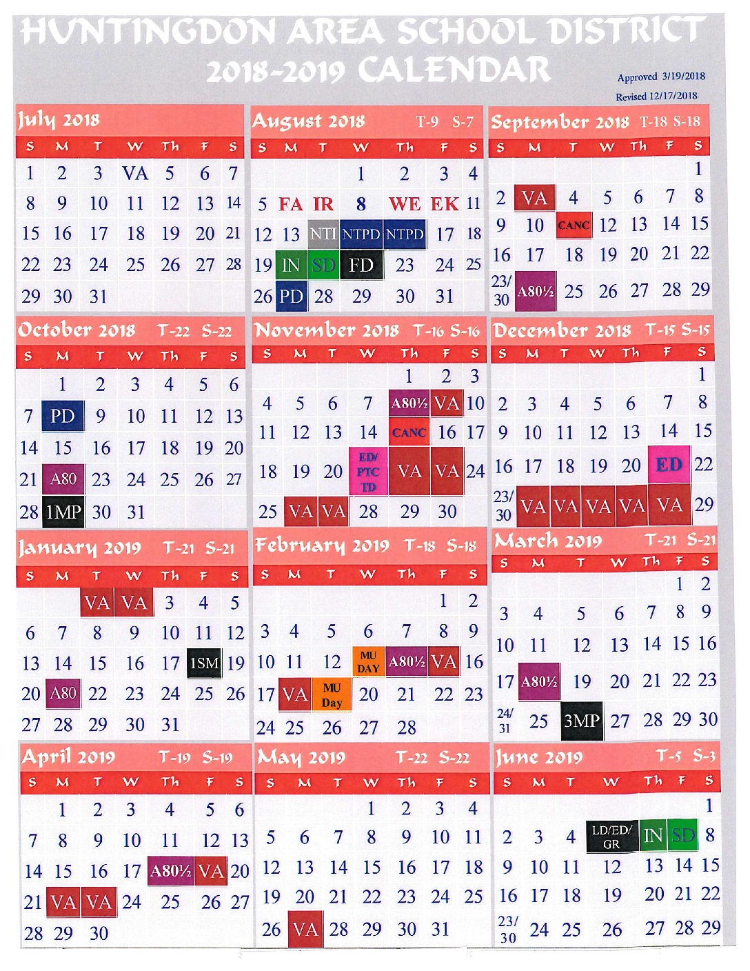 thumbnail of 2018-2019 School Calendar rev. 12172018