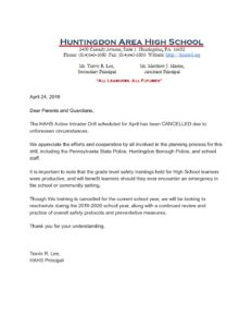 thumbnail of April Active Intruder Drill Cancelled Letter]
