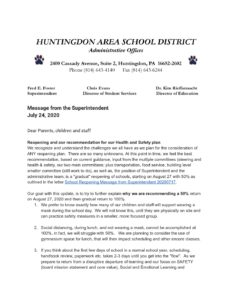 thumbnail of Message from the Superintendent July 24, 2020 – Google Docs