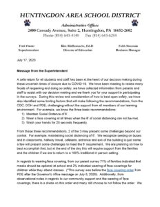 thumbnail of Reopening and Online Learning Letter
