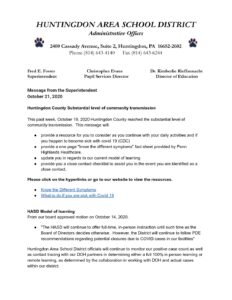 thumbnail of Message from the Superintendent October 21, 2020 – Google Docs