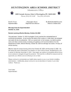 thumbnail of Message from the Superintendent October 23, 2020
