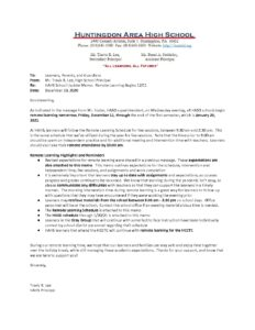 thumbnail of HAHS School Update Memo_ Remote Learning 12_10_20