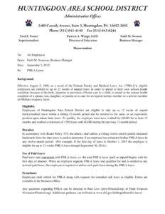 20150902 FMLA Leave Memo – Huntingdon Area School District