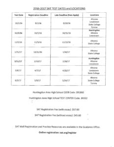 2016-17 SAT Test Dates and Locations – Huntingdon Area