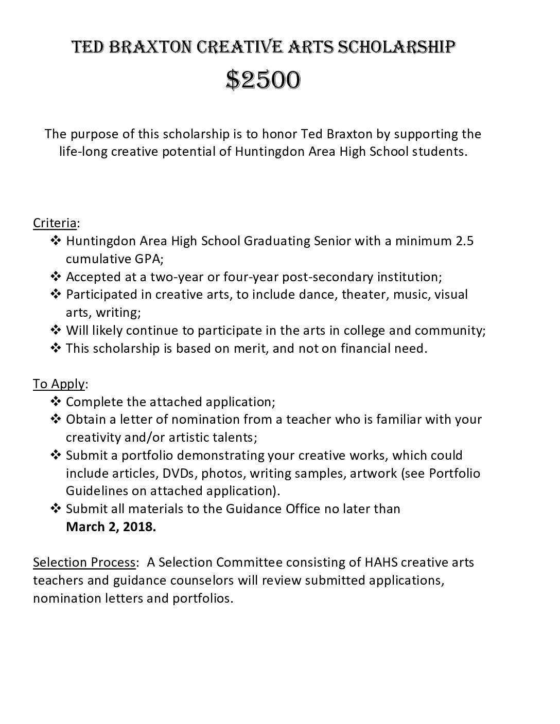 Ted Braxton Creative Arts Scholarship Application Huntingdon Area School District